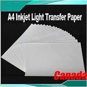20 Sheets A4 Inkjet Light Transfer Paper For Diy T shirt Heat Press Printing