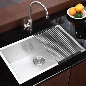 Commercial Stainless Steel Top Mount Kitchen Sink 28 x18 Single Bowl W Dry Mat