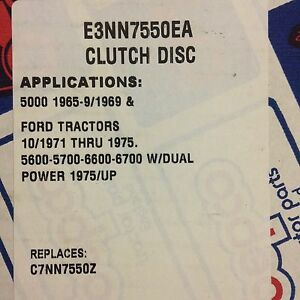 New Ford Tractor 12 Clutch Disc With Throw out Bearing Shim E3nn7550ea