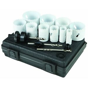 13 Piece Bi metal Hole Saw Set For Cutting Precise Holes In Plastic Wood Pvc Etc