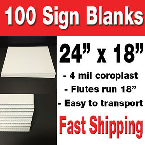 Box Of 100 18 X 24 Blank White Corrugated Yard Signs political Signs