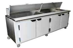 Cooltech Refrigerated 4 door Sandwich Prep Table 96 With 2 X 1 3hp Compressor