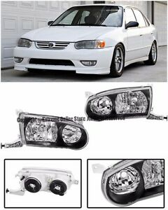 For 01 02 Toyota Corolla Front Bumper Black Housing Clear Lens Headlight Lamps