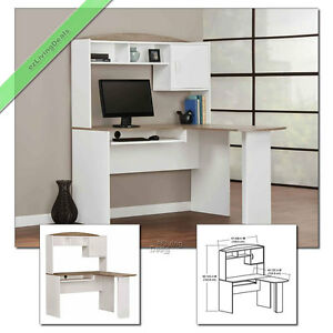 Corner Computer Desk With Hutch L Shaped Home Office Wood Desks White