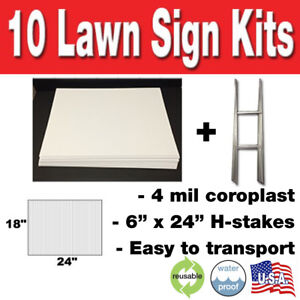 10 Pack Blank Yard Signs 18x24 With H stakes For Garage Sales Graduations