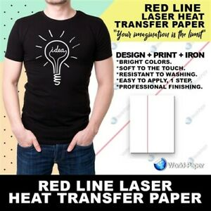 Laser Iron On Heat Transfer Paper Dark 50 Pack 11x17 Red Line