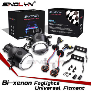 Universal Waterproof Bi Xenon Foglights Projector Lens Driving Lamps Kit Hi Low