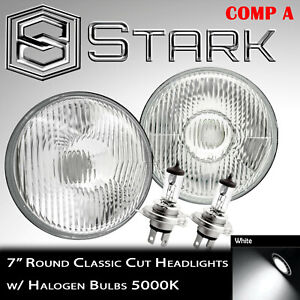 H6024 Head Light Glass Housing Lamp Classic Conversion Chrome 7 Round Pair a