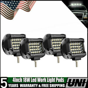 4pcs 18w Pods Led Work Light Flood Lights For Truck Off Road Tractor 12v 24v 4