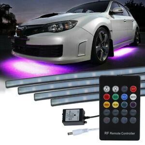 8 Color Led Strip Under Car Tube Underglow Underbody System Neon Lights Kit