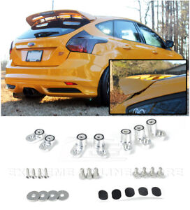 For 13 18 Ford Focus St Anodized Silver Jdm Rear Wing Spoiler Riser Extender Kit