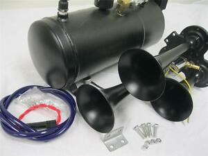 Loud Triple 3 Air Train Horn Kit Semi Truck Boat Black Horns 120 Psi Compressor