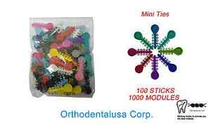 Set X 10 Orthodontic Elastomeric Mini Ties 1000 Ligature V ties 100 Sticks