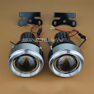 Universal 2 5 Led Angel Eyes Halo Fog Lights Projector Lens Driving Lamps Kit