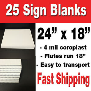 Box Of 25 24 x18 Blank Lawn Signs White Corrugated Yard Signs political Signs