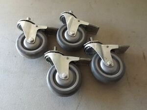 Lot Of 4 Shepherd 4 Swivel Caster Wheel With Brake
