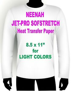 Sofstretch Inkjet Iron On Heat Transfer Paper Neenah Jet Pro Ss 8 5 X 11 75 Pk