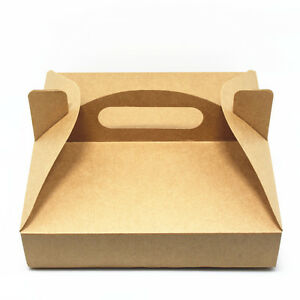 Pizza Box Container Retail Packaging Kraft Paper Handle Boxes For Takeout Pizza