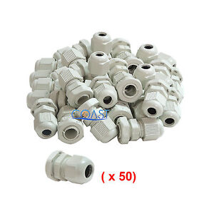 Durable Waterproof White Nylon Cable Connector Gland Dia 18 25mm Pg29 50 Pcs