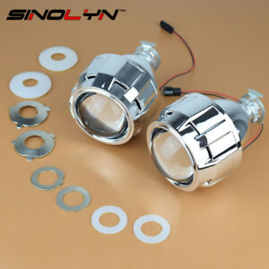 Mini Hid 2 5 Bi Xenon Projector Lens Kit Chrome Shroud Headlight Car Motorcycle