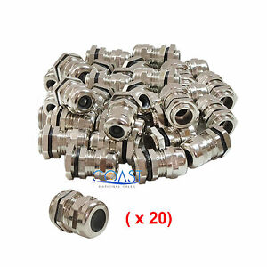 Durable Waterproof Nickel Plated Cable Connector Gland Dia 10 14mm Pg16 20 Pcs