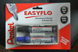 Pentel Easyflo Marker Eraser Set Black And Blue Pens Eraser Is Penholder