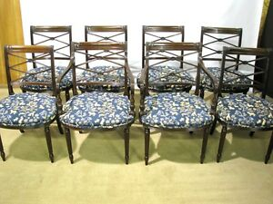 Set Of 8 Vintage English Made Regency Style Dining Chairs Solid Mahogany