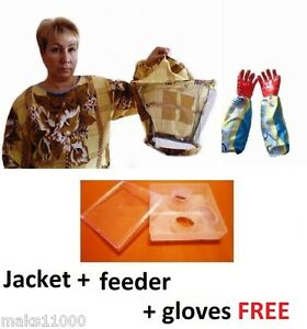Beekeeping Clothes Jacket Feeder For Bee Gloves Free Starter Kit