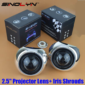 Mini Hid 2 5 Bi xenon Projector Lens Kit W Iris Shrouds Car Headlight Retrofit