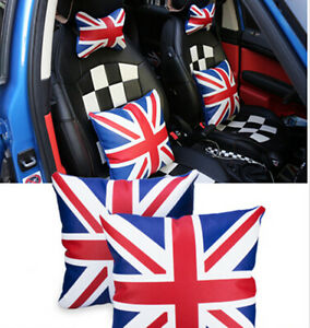 Pu Leather Union Jack Checkered Auto Car Lumbar Cushion Chair Seat Pad Cover