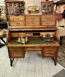 Antique French Fruitwood Rolltop Cylinder Bureau Desk