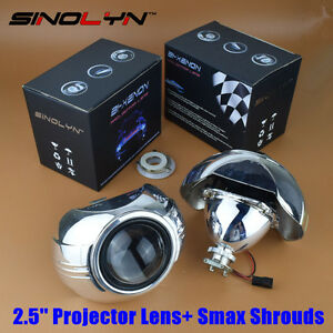 Mini Hid 2 5 Bi Xenon Projector Lens Kit W Smax Shrouds Car Headlight Retrofit