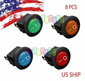 8 Pcs Led W1 Dot Light 12v Car Auto Boat Round Rocker On Off Toggle Spst Switch