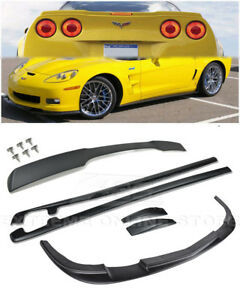 Zr1 Style Front Lip Side Skirts Rear Spoiler Combo Kit For 05 13 Corvette C6 Z06