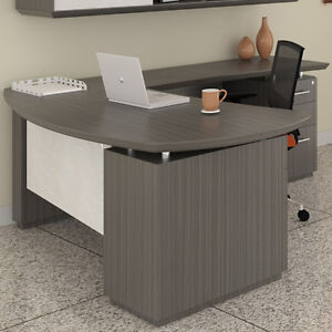 Modern L shaped Executive Desk Private Meeting Office Optional Hutch Storage New