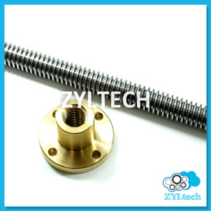 1 2 10 Single Start Acme Threaded Rod Lead Screw W Brass Nut 12 24 36 48