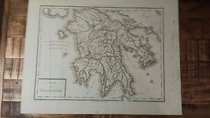 Very Nice Antique Hand Colored Map Of Peloponese Greece P Tardieu C 1790
