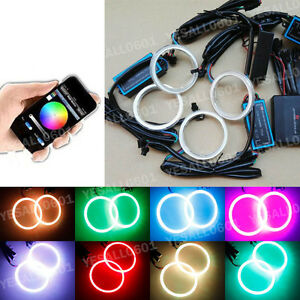4pc 70mm Cob Led Rgb Angel Eye Lights Halo Rings Drl Headlight Phone App Control