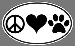 30 piece Peace Love Paws Rescue Oval Decal Sticker For Dog Pet Lovers