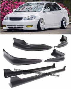 S Style Full Front Rear Lower Bumper Lip Side Skirts For 03 04 Toyota Corolla