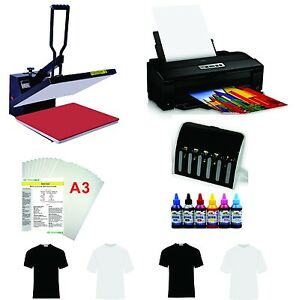 16x24 T shirt Heat Press Machine Epson Printer 1430 Ciss Kit