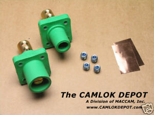 Camlok 2 4 0 Male Female Green Panel Mount Pair Kit