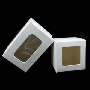 White Kraft Paper Packaging Boxes With Window Crafts Gifts Favors Packing Box