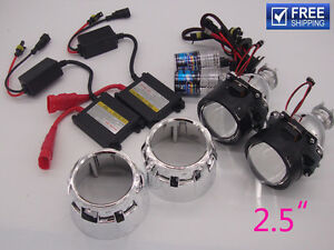 Universal Bi xenon Hid Projector Lens Car Headlight 2 5 Inch 35w Xenon Kit 6000k
