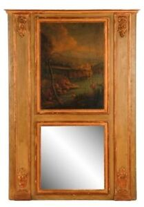 Antique Louis Xvi Trumeau Mirror Parcel Gilt Oil On Canvas Neoclassical Art