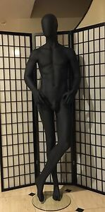 Fiberglass Black Male Mannequin Egghead Full Body Retail Fashion Clothes Display