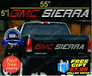 Gmc Sierra Tailgate Vinyl Decal Sticker Red Silver Colors