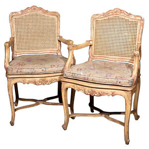 Pair Of French Caned Back Armchairs 102 259