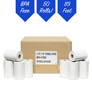 3 1 8 X 119 Thermal Receipt Paper Pos 50 Rolls Free Shipping