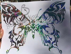 Butterfly Fairy Tribal Glitter Holographic Vinyl Decal Sticker Car Window